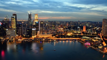 Singapore city bay area night view