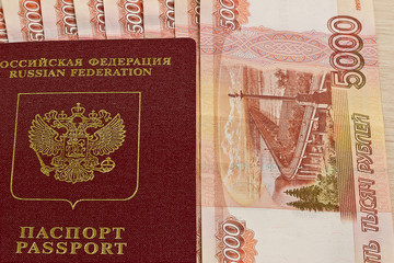 Russian passport and  banknotes
