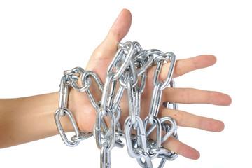 鎖で縛られた人間の手
