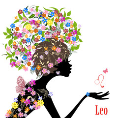 Zodiac sign leo. fashion girl