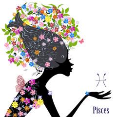 Zodiac sign pisces. fashion girl