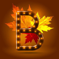 Glossy retro autumn lighted up abc