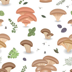 Seamless texture with Edible mushroom oysters and herbs