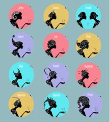 Zodiac signs in a circle frames set
