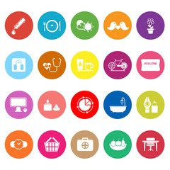Health behavior flat icons on white background