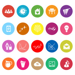 Virtual organization flat icons on white background