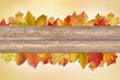 canvas print picture - Background  Autumn with wooden planks