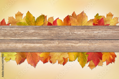 canvas print picture Background  Autumn with wooden planks