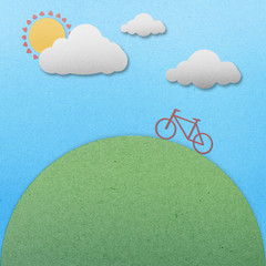 Bike view landscape paper on paper background