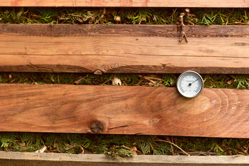 Thermometer showing high temperature in the compost pile