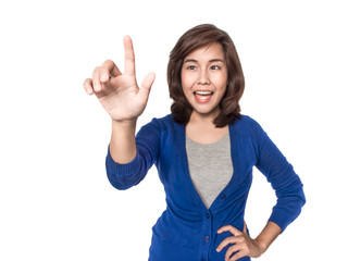 Woman touching imaginary screen, focus on hand