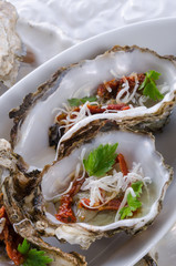 oysters with parmesan and baked tomatoes