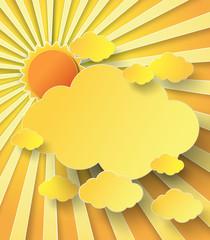Vector illustration  sunburst over clouds
