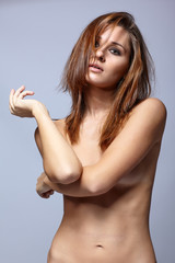 Young topless woman