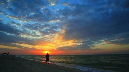 rising sun over the sea
