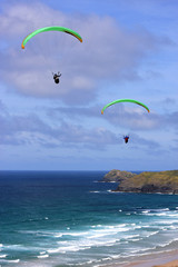paragliders at Perranporth