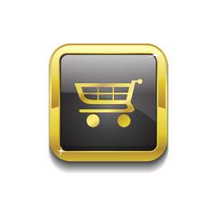 Shopping Square Vector Golden Black Web Icon Button