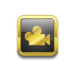 Video Square Vector Golden Black Web Icon Button