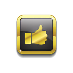 Thumbs Up Square Vector Golden Black Web Icon Button