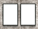 Fototapety Two blank banners with wooden frame on brick wall background