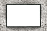 Blank banner with wooden frame on brick wall background
