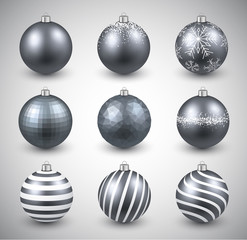 Set of realistic silver christmas balls.