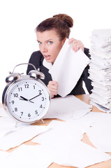 Woman businesswoman under stress missing her deadlines