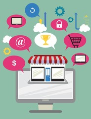 Buying product via online shop. E-commerce concept