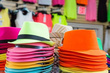 Colorful Hats in a Store