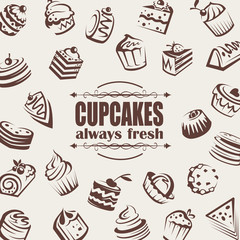 background with collection of cakes and cupcakes