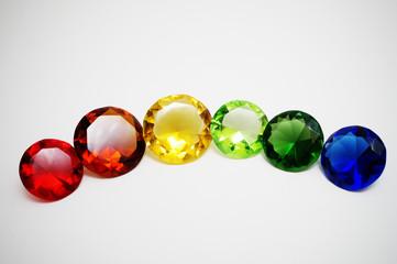 Glass diamonds in rainbow colours