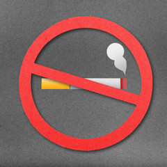 No smoking sign cut from paper craft on paper background
