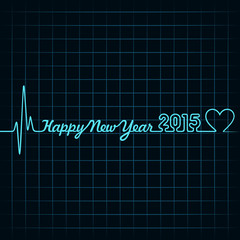 Heartbeat make happy new year text ,2015 and heart symbol