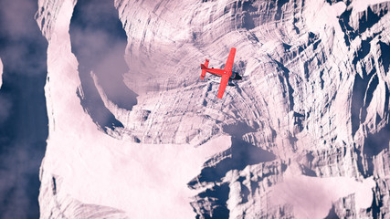 Aerial of red airplane flying over arctic snow landscape.