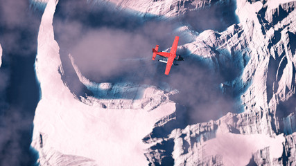 Aerial of red airplane flying over arctic snow landscape with bl