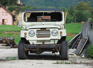 Wrecked Jeep in Bosnia