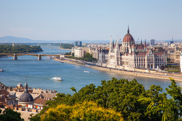 Hungarian Parliament building in Budapest, Hungary on a sunny da