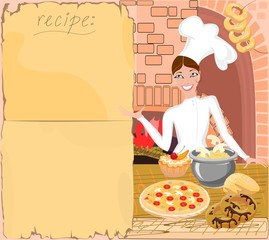 Background with  chef and  recipe