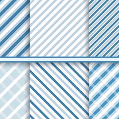 Bright blue elegant diagonal stripes - set of seamless patterns