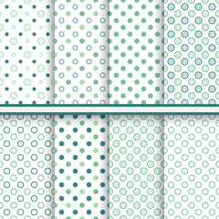 Set of eleganet polka dot seamless patterns - vector texture
