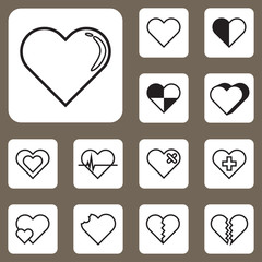 Vector Illustration, Heart Love Icon for Design and Creative Wor
