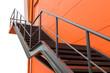 Leinwanddruck Bild - Metal fire escape or emergency exit on Orange Wall of Buliding W