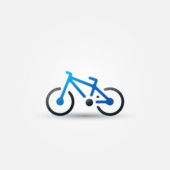 Vector blue bicycle icon - simple bike symbol