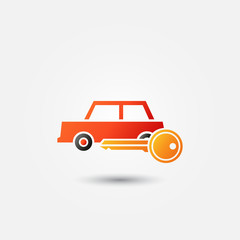 Bright red car rental icon - vector symbol