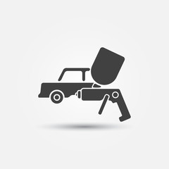 Car paint icon - a car and paint sprayer symbol