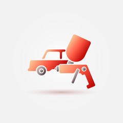 Red car paint icon - a car and paint sprayer symbol