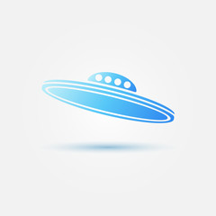 Blue bright vector UFO icon