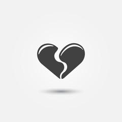 Broken heart icon - vector love simple symbol
