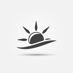 Sun and wave icon - vector design symbol