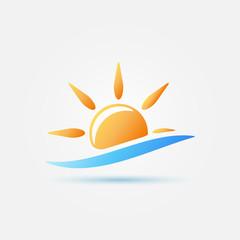 Bright yellow sun and blue wave icon - vector design symbol